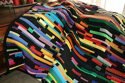 """NEW - Hand Made Quilt """"BLACK/COLOUR STRIPPY"""" Design by Quilt-Addicts 83"""" x 78"""""""