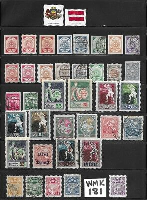 Collection of Old Stamps - LATVIA - - - - - - (3 pages)