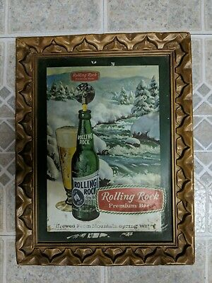 Rolling Rock Beer Framed Sign Rare Vintage Latrobe Pennsylvania Beer