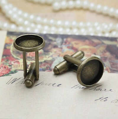 10PCS Antiqued Bronze 12mm Round Blank Settings Cuff Links #22702