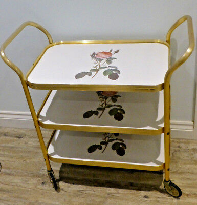Vintage /Retro 1960s Hostess Roses /Rose 3 Tier Drinks Trolley, Detatchable Tray