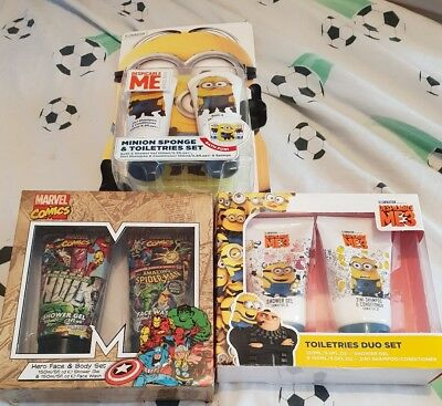 Brand new bundle of 3 sets minions & marvel  childrens toiletries sets gifts