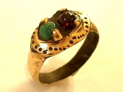UNIQUE GIFTS,DETECTOR FIND & POLISHED,2nd Cent ROMAN BRONZE RING W/REAL GEMSTONE