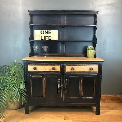 Vintage Court Cupboard Buffet Welsh Dresser Painted Sideboard Rustic Ercol Black