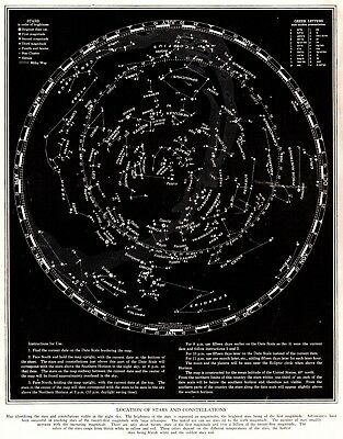 1937 Antique Constellation Map Star Map Vintage Astronomy Zodiac Print 6229