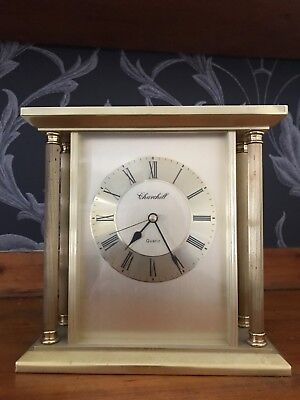 CHURCHILL QUARTZ SOLID BRASS VINTAGE CARRIAGE MANTLE CLOCK GOLD TONE Working