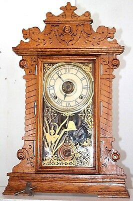 "Antique Victorian Seth Thomas Large 1891 ""new York"" City Series Oak Mantel Clock"