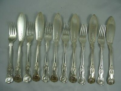 STUNNING set x 12 `KINGS` pattern solid silver FISH CUTLERY, 1918, 872gm