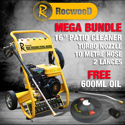 Rocwood Petrol Jet Pressure Washer. 7 HP, 3000 PSI, And Various Attachments