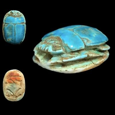 Ancient Egyptian Glazed Scarab Bead Seal With Hieroglyphics 664 - 332 Bc (1)