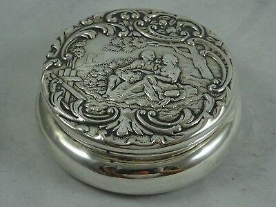 PRETTY solid silver TRINKET BOX, 1900, 59gm