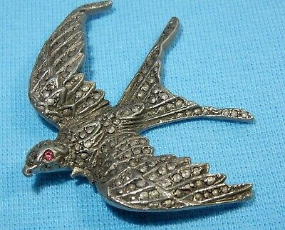 Beautiful Vintage Marcasite Silver Flying Swallow Pin Brooch - Art Deco