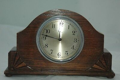 Antique Small Deco Solid Oak 8 Day Mantle Clock.