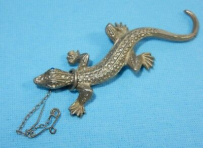 Striking Vintage Marcasite Silver Lizard Gecko Pin Brooch - Art Deco + Safety
