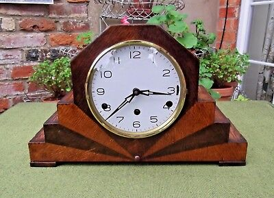 Large Art Deco Chiming Mantel Clock In Stepped Oak Case~With Key~1935