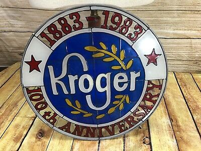"""Rare Kroger Stained Glass Sign 100 Year Anniversary 16"""" Diameter"""