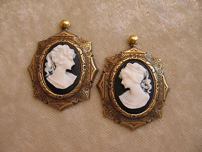 dollhouse doll house miniature  WALL PICTURE FANCY CAMEO WOMEN BLACK WHITE SET