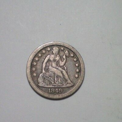 1849 O Seated Liberty Dime  Vf-Xf / Sharp Coin