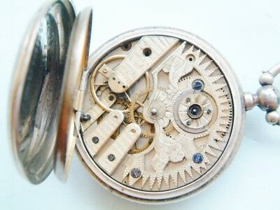 watchmakers silver pocket watch Skeletonized movement for repair  spare UNUSUAL