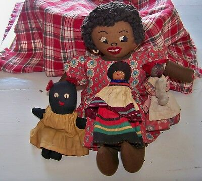 4 Vintage Black Americana Dolls includes Mammy Clothespin Doll