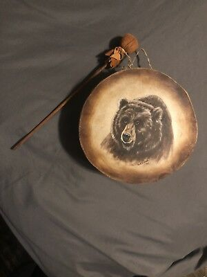 Native American Hand Drum With Hand Painted Bear