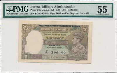 Reserve Bank of India Burma  5 Rupees ND(1945)  PCGS  55