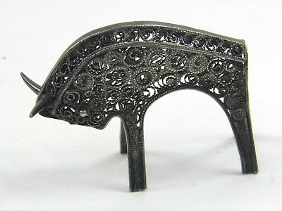 Vintage mid 20th century filigree silver figure of a bull