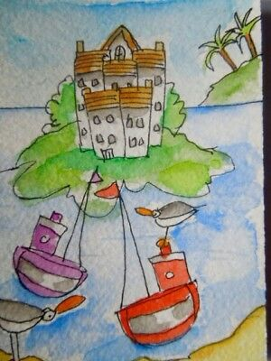 ACEO original watercolour painting - Boat riding - by Polly