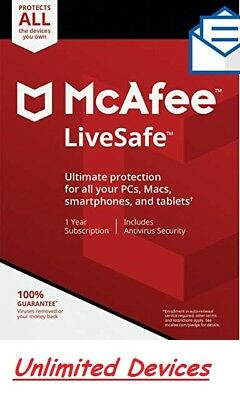McAfee LiveSafe | 2019 | Unlimited Devices | Mac-Windows-Android | Fast Delivery
