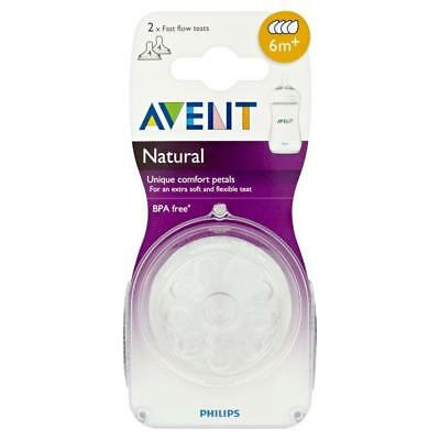 NEW Philips AVENT Natural SCF654/27 Fast Flow Baby Feeding Bottle Teats 6m+
