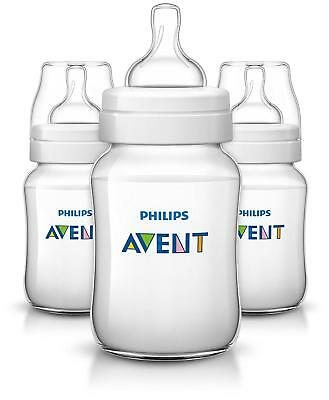 NEW Pack Of 3 Philips Avent SCF563/37 Classic+ Baby Feeding Bottle, 260ml/9oz