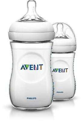 NEW Pack Of 2 Philips AVENT Natural SCF693/27 Baby Feeding Bottle, 260 Ml/9oz