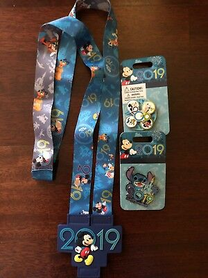 Disney 2019 Mickey Mouse & Friends Reversible Lanyard With 2 Pins Mickey Stitch
