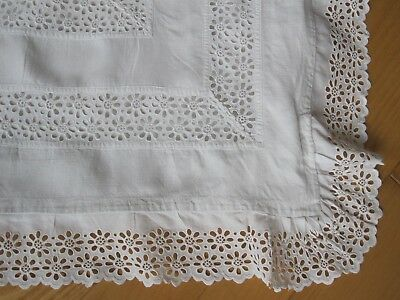 White Linen 19Th C Victorian Edwardian Pillow Sham Pillowcase Embroidery Lace