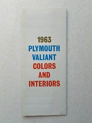 Vintage BROCHURE CATALOG 1963 Plymouth Valiant Color and Interior Chart
