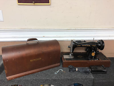 1947 Vintage Singer Heavy Duty Portable Sewing Machine with Electric Foot Pedal
