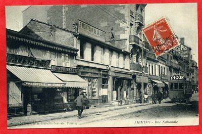 CPA 42 - FIRMINY - TRAMWAY PUB PICON rue Nationale - COMMERCES - ANIMEE