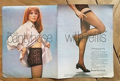 1968 redhead black lace Round the Clock pantyhose girdle ad as is