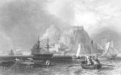 Scotland MEDIEVAL DUMBARTON CASTLE ROCK RIVER CLYDE ~ 1839 Art Print Engraving