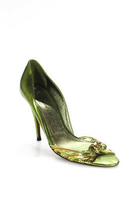 548b0ba3469 Jean-Michel Cazabat Metallic Green Leather Open Toe Stilettos Size 36.5 6.5