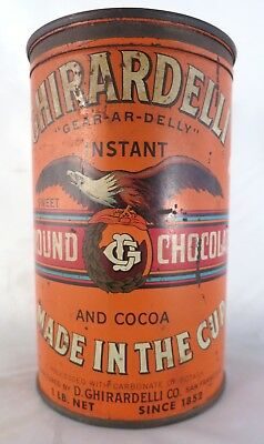 Vintage 1940's Ghirardelli's Ground Chocolate Advertising Tin Canister w product
