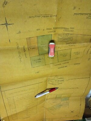 Old Staffordshire Documents Leek 1861 Plan Seen Cawdry House Ball Haye Street ..