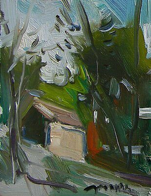 JOSE TRUJILLO ABSTRACT MODERN Oil PAINTING IMPRESSIONIST CABIN WOODS WOODLAND