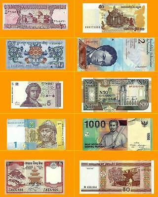 10 PCS  UNC Different World Banknotes 10 Countries