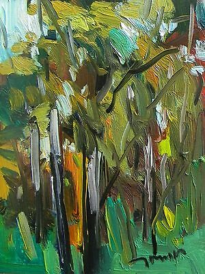 Jose Trujillo Impressionist Oil Painting Woods Nature Outdoors Plein Air 11X14