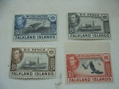 Falkland Island 4 stamps KGVI 2,1/2d,6dx2, 1/3d  three are MNH including 1/3d