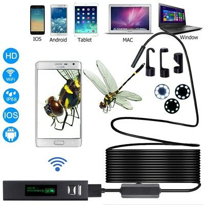 WiFi 1200P HD IP68 Waterproof For iPhone Android Endoscope Inspection Camera 10M