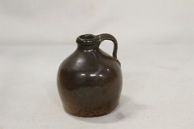 Antique Southern Folk Art 2 Brown Spotted Glaze Miniature Pottery Stoneware Jug