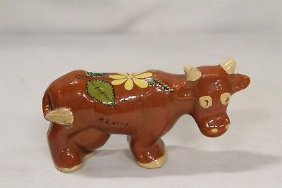 Tlaquepaque Mexican Flowers Tail Yellow Eyed Pottery Cow