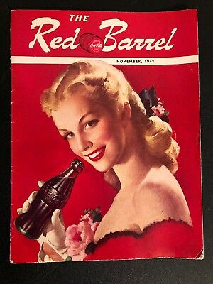 November 1948 The Red Barrel Coca Cola Magazine. LADY IN RED!